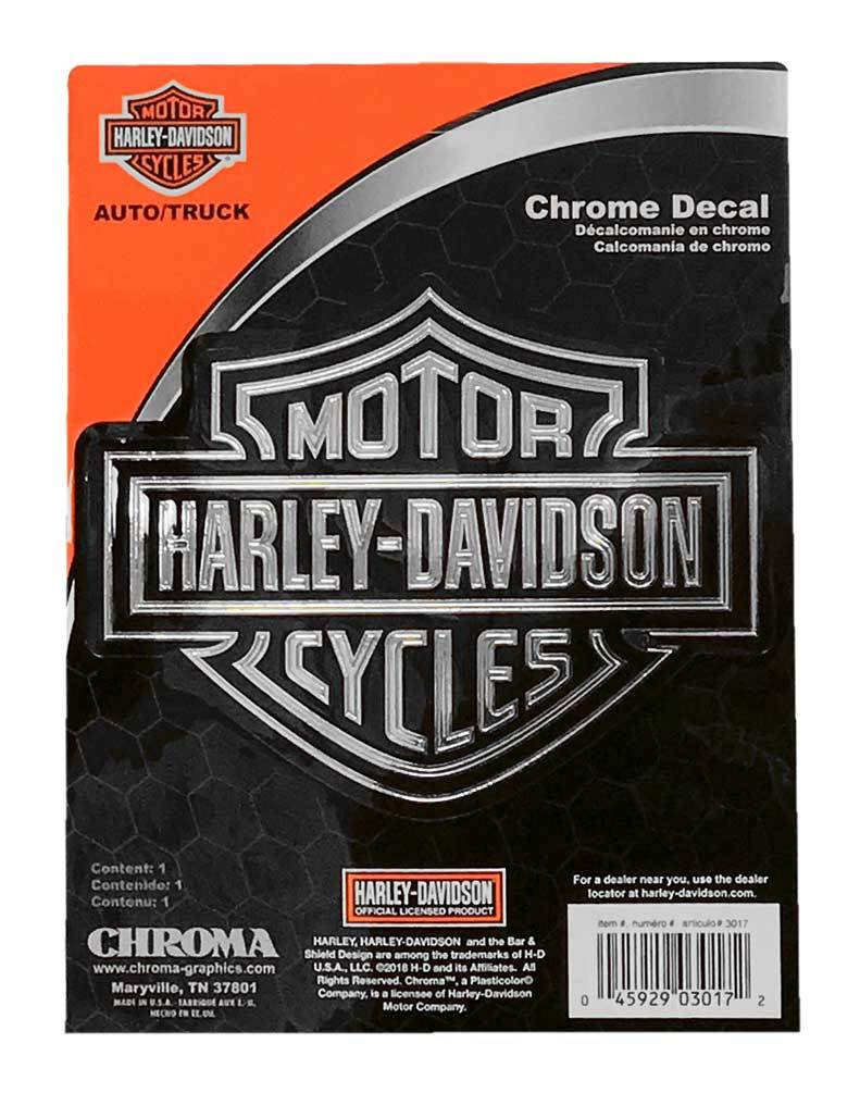 Harley-Davidson® Embossed Bar & Shield Logo Chrome Decal - 6 x 8 in.