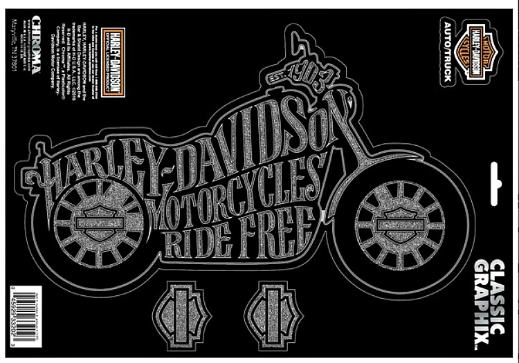 Harley-Davidson® Bike Silhouette Decal | Motorcycles Ride Free | Bar & Shield® | Large