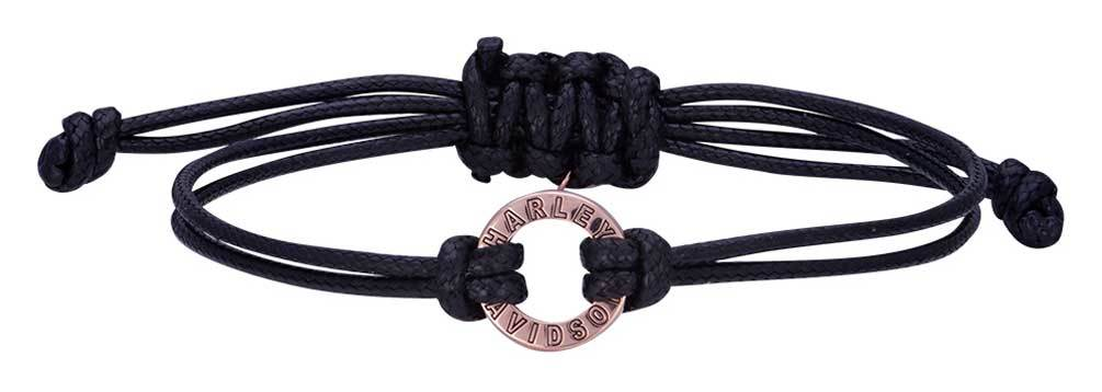 Harley-Davidson® Women's Rose Gold Open Circle Adjustable Cord Bracelet
