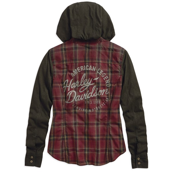 Košeľa Women´s H-D® Genuine Motorclothes Jersey Winged B&S Hooded Plaid Long Sleeve Woven Shirt 96336-19VW