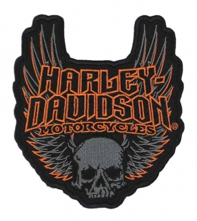 Harley-Davidson® Gothic Winged Skull Patch Embroidered Emblem Small Size