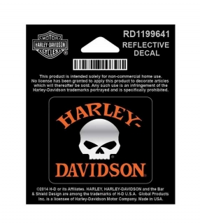 Harley-Davidson® Reflective Decal, Willie G. Skull, X-Small Size