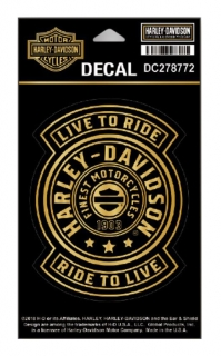 Harley-Davidson® Gold Harley Shield Decal, SM Size - 3.75 x 4.75 in