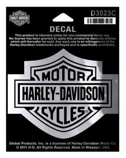 Harley-Davidson® Bar & Shield Chrome Medium Decal, 3-15/16'' W x 3-1/8'' H