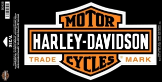 Harley-Davidson® Long Chrome Bar and Shield® Decal Large Orange