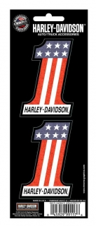 Harley-Davidson® #1 Red White Blue 2-Piece Holographic Decals, 3 x 2 In