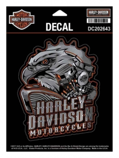 Harley-Davidson® Eagle Engine Ultra Decal, Chrome MD Size 4.375 x 5.5 in