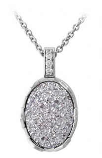 Harley-Davidson® Women's Oval Silver Drusy Necklace, Sterling Silver