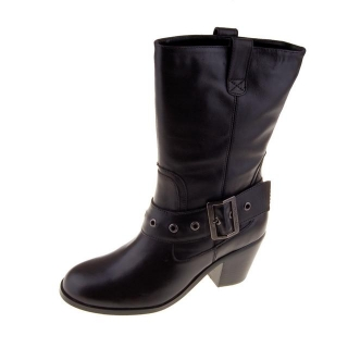 Women's Stella Buckle Harness Boots Soft Leather Black 85096