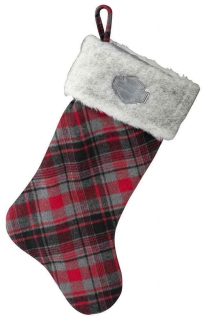 Harley-Davidson® Winter Holiday Stocking - Red Plaid w/ Satin Lining