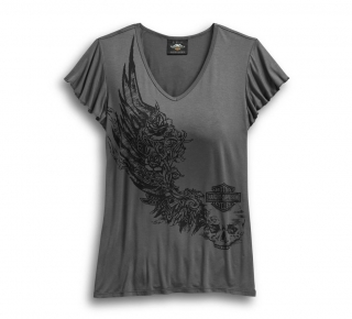Tričko Women´s H-D® Genuine Motorclothes Flowered Winged Logo V-Neck Tee 96503-19VW