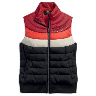 Vesta Women´s H-D® Genuine Motorclothes Striped Puffy Vest Metallic Embroidered Graphics 97487-19VW