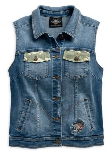 Vesta Women´s H-D® Genuine Motorclothes Camo & Studs Accent Distressed Denim Vest 96749-19VW