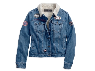 Bunda Women´s H-D® Garage Sherpa Fleece Denim Jacket 96380-19VW