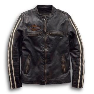 Pánska bunda Men's H-D® 1903 Sleeve Stripe Slim Fit Leather Jacket 97048-19VM
