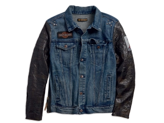 Pánska bunda Men's H-D® 1903 Harley-Davidson #1 Leather Sleeve Men's Denim Jacket 97467-18VM
