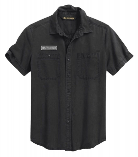 Košeľa Men's H-D® 1903 V-Twin Slim Short Sleeve Woven Shirt - Espresso 99009-20VM