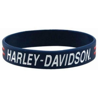 Náromok Harley-Davidson® Blue Silicone Debossed With Ink Fill Wristband - WB51684