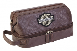Taška Harley-Davidson® Deluxe Bar & Shield Leather Toiletry Kit, BROWN 99609-BROWN