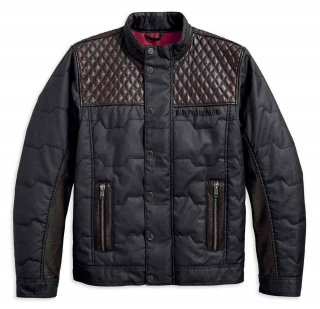 Pánska bunda Men's H-D® Genuine Motorclothes Quilted Red Leather Accent Jacket, Black 97441-18VM