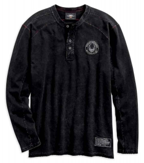 Mikina Men's H-D® Specialty Washed Henley Long Sleeve Shirt 96587-19VM