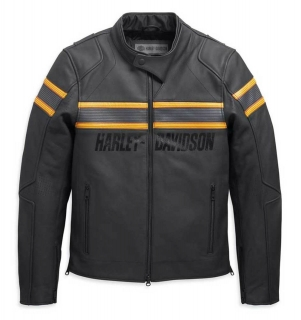 Motocyklová bunda Harley-Davidson® Men's Sidari Venting Slim Fit Leather Jacket, Black 98007-20EM