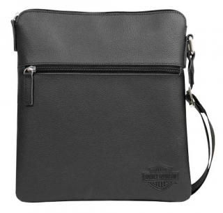Taška Harley-Davidson® Mens Bar & Shield Leather Crossbody Bag, Black CC8174L-BLK