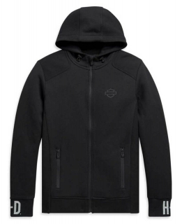Mikina Harley-Davidson® Men's Rib-Knit Side Slim Fit Full-Zip Hoodie - Black 99094-20VH