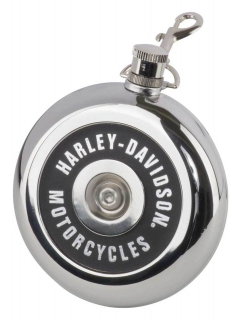 Harley-Davidson® Air Cleaner Style Round Flask, 8 oz. - Silver Stainless Steel HDX-98506