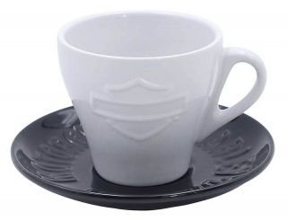 Harley-Davidson® Silhouette Bar & Shield Ceramic Cup & Saucer - 6 oz. HDX-98619