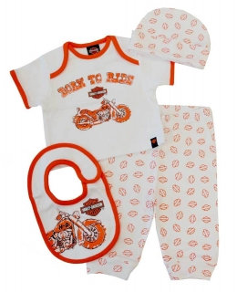Baby Boys' 4 Piece Boxed Gift Set, Top, Pant, Hat, Bib
