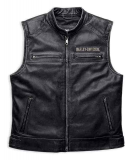 Harley-Davidson® Men's Embroidered Passing Link Leather Vest, Charcoal 98109-16VM