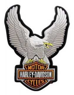 Harley-Davidson® Up Wing Eagle Silver Patch SM 2 5/8'' x 3 3/4'' EMB328062
