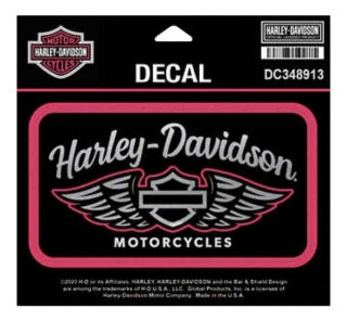 Harley-Davidson® Winged Script Chrome Decal, MD Size - Pink & Black DC348913