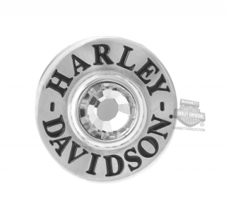Harley-Davidson® Womens Stainless Steel Silver Tone Round Clear Stone Rally Charm by Mod Jewelry®
