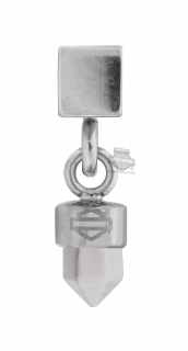 Harley-Davidson® Womens Stainless Steel Silver Tone Clear Stone Dangle Rally Charm by Mod Jewelry®HSC0103