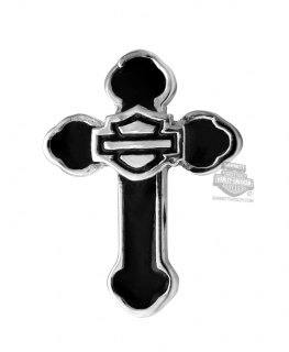 Harley-Davidson® Womens Stainless Steel Silver Tone Black Enamel Cross Rally Charm by Mod Jewelry®HSC0110