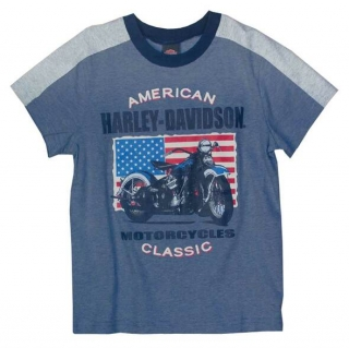 Harley-Davidson® Big Boys' Patriotic Motorcycle Short Sleeve Tee, Blue