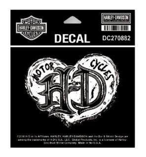 Harley-Davidson® Grunge Heart Decal, SM Size - 4.125 x 3.125 in