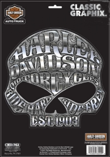 Harley-Davidson® Classic Graphix™ Willie G® Skull Chrome Decal