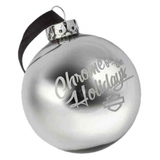 Harley-Davidson® Winter Chrome For The Holidays Ball Ornament, Silver